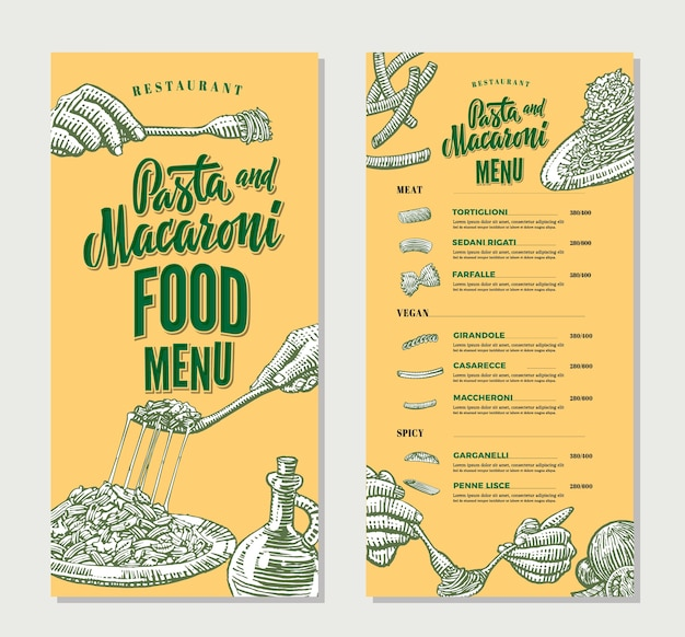 Szablon vintage menu restauracji makaron żywności