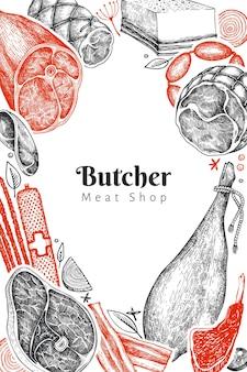 Szablon vintage produktów mięsnych. ręcznie rysowane szynka, kiełbaski, przyprawy i zioła. surowe składniki żywności. ilustracja retro.