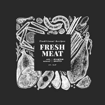 Szablon vintage produktów mięsnych.