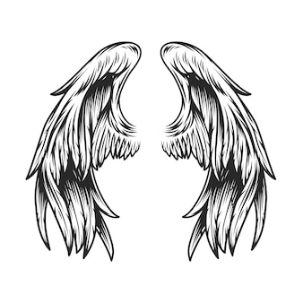 Szablon vintage skrzydła anioła