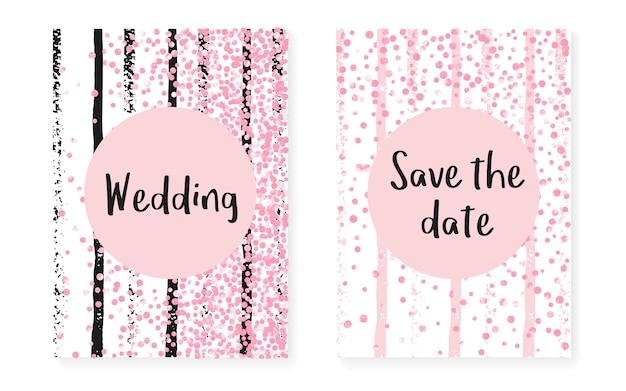 Szablon w kropki. złote, stylowe cząstki. magazyn splatter. różowa sztuka przedszkola. różowa farba dziewczęca. zestaw broszur zaręczynowych. zimowy projekt w paski. różowy szablon w kropki