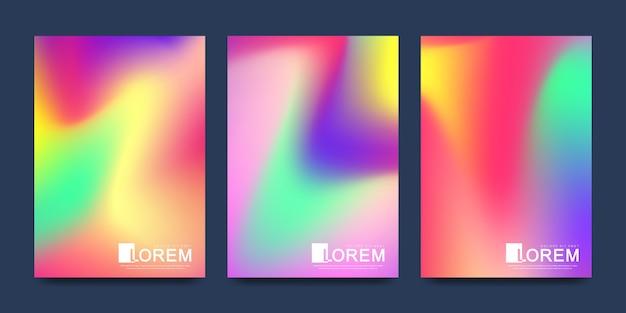Szablon w modnych żywych kolorach gradientu z abstrakcyjnymi płynnymi kształtami, plamami farby, kroplami atramentu.