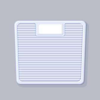 Szablon wagi łazienkowej. białe wagi montowane na podłodze z pustą tarczą zdrowego stylu życia.