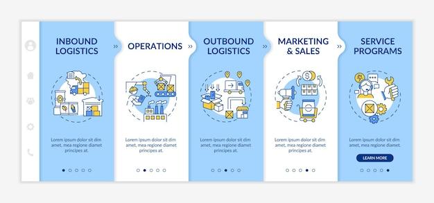 Szablon wdrażania elementów łańcucha wartości. wzrost sprzedaży. optymalizacja procesów biznesowych. responsywna witryna mobilna z ikonami. ekrany krok po kroku strony internetowej.