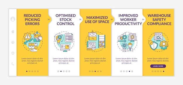 Szablon wdrożenia usługi magazynowej. zwiększona produktywność pracowników. zoptymalizowana kontrola zapasów. responsywna witryna mobilna z ikonami. ekrany krok po kroku strony internetowej. koncepcja kolorów rgb