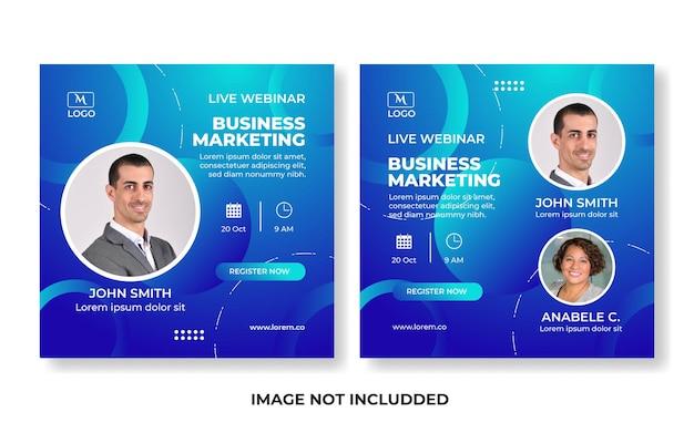 Szablon webinaru na żywo szablon postu w mediach społecznościowych marketing cyfrowy dla promocji biznesu