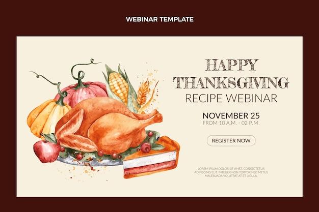 Szablon webinaru z akwarelą dziękczynienia