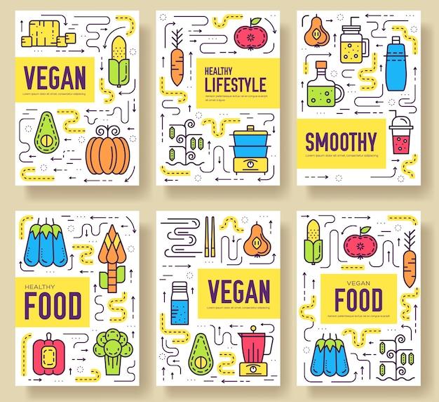 Szablon wegetariański ulotki, czasopisma, plakaty, okładka książki, banery. koncepcja zaproszenia wegetariańskie