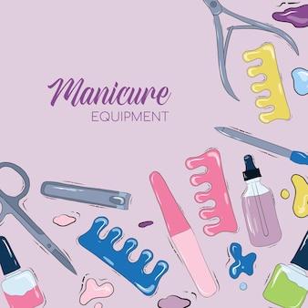 Szablon wektor baner reklamowy salon paznokci. narzędzia do manicure. ilustracji. fioletowe tło.