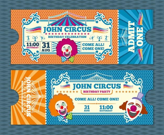 Szablon wektor bilet cyrkowy vintage wejście. kupon cyrkowy, cyrk retro biletowy, karnawałowy bilet cyrkowy, ilustracja biletu cyrkowego na wydarzenie