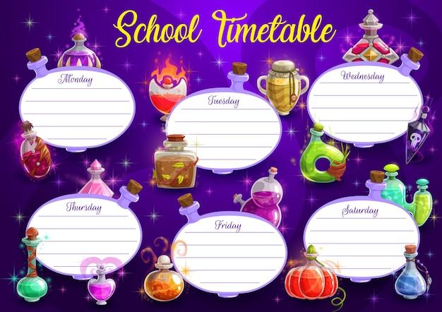 Szablon wektor harmonogramu szkolnego harmonogramu edukacji lub cotygodniowy terminarz z ramą tło halloween magicznych mikstur butelek. plan nauki studenta lub układy wykresów klasowych w kształcie słoików z eliksirem