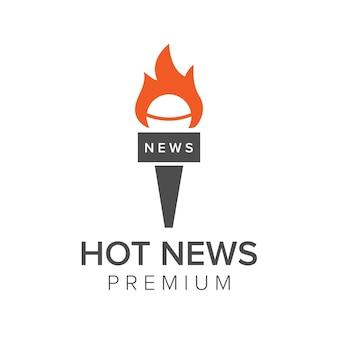 Szablon wektor ikona logo gorących wiadomości