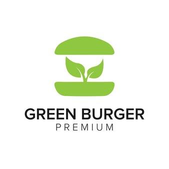 Szablon wektor ikona logo zielony burger