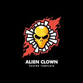 Szablon wektor ilustracja koncepcja clown alien