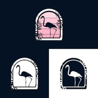 Szablon wektor ilustracja logo flamingo