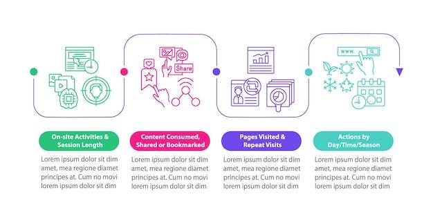 Szablon wektor infografika analizy zachowania użytkownika. elementy projektu prezentacji marketingu cyfrowego. wizualizacja danych w 4 krokach. wykres osi czasu procesu. układ przepływu pracy z ikonami liniowymi