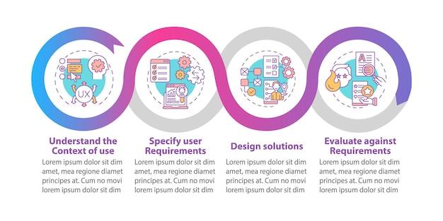 Szablon wektor infografika zorientowana na użytkownika. elementy projektu zarys prezentacji wymagań użytkownika. wizualizacja danych w 4 krokach. wykres informacyjny osi czasu procesu. układ przepływu pracy z ikonami linii