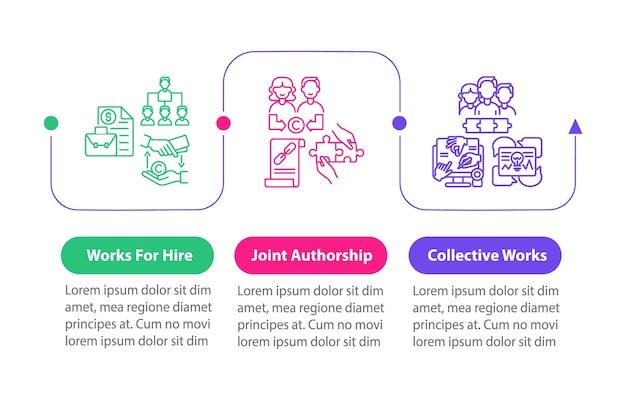 Szablon wektor infografikę rozporządzenia prawa autorskiego. współautorskie elementy projektu prezentacji. wizualizacja danych w 3 krokach. wykres osi czasu procesu. układ przepływu pracy z ikonami liniowymi