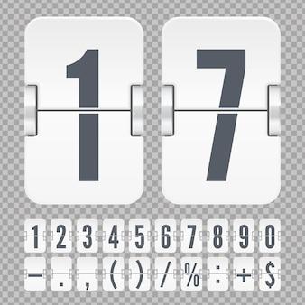 Szablon wektor licznik czasu lub minutnik strony sieci web. białe cyfry i symbole na mechanicznej tablicy wyników na przezroczystym tle.