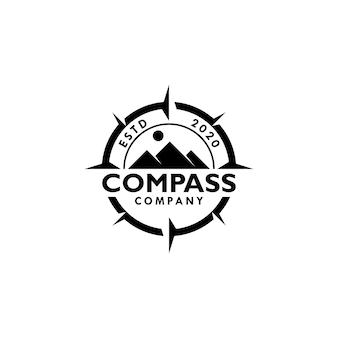 Szablon wektor logo góry i kompasu