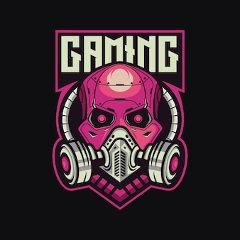 Szablon wektor logo kreskówka maskotka czaszki gier esport