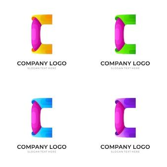 Szablon wektor logo litery c, kolorowy styl 3d