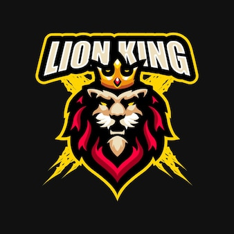 Szablon wektor logo maskotka kreskówka król lew esport