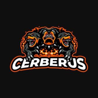 Szablon wektor logo maskotki cerberus esport