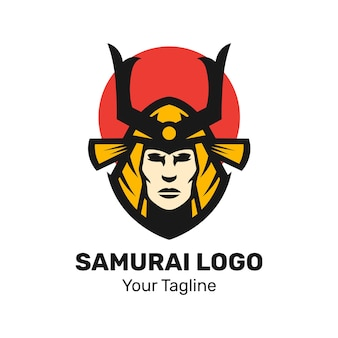 Szablon wektor logo maskotki samuraja