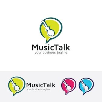 Szablon wektor logo muzyki mówić