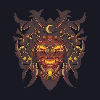 Szablon wektor maski samuraja oni. ilustracja świecącej maski samuraja oni