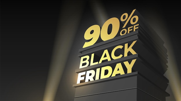 Szablon wektor na sprzedaż black friday z wolumetrycznym napisem, budynkiem i reflektorem na tle nocnego nieba. 90 dziewięćdziesiąt procent zniżki. ilustracja do ulotki, zniżki, promocji, biznesu, kart.