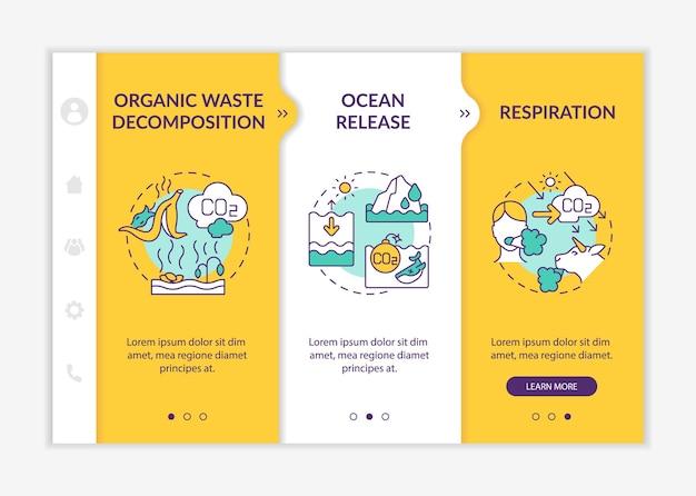 Szablon wektor onboarding naturalnych źródeł dwutlenku węgla. responsywna strona mobilna z ikonami. przewodnik po stronie internetowej 3 ekrany kroków. koncepcja kolorów rozkładających odpady organiczne z ilustracjami liniowymi