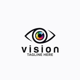 Szablon wektor projektu logo oka. kolorowe ikony mediów. pomysł na koncepcję wizji.