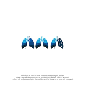 Szablon wektor projektu logo płuc