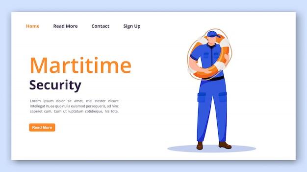 Szablon wektor strony docelowej bezpieczeństwa morskiego. strona straży przybrzeżnej z płaskimi ilustracjami. projekt strony internetowej