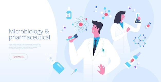 Szablon wektor strony docelowej mikrobiologii. pomysł na interfejs strony głównej witryny farmaceutycznej z płaskimi ilustracjami. eksperyment laboratoryjny. futurystyczna koncepcja kreskówka baner internetowy