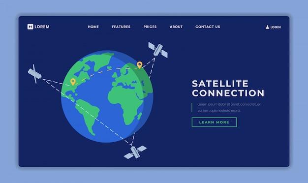 Szablon wektor strony docelowej połączenia satelitarnego