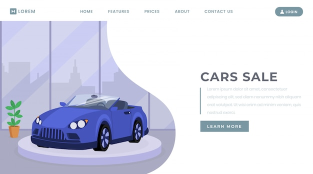 Szablon wektor strony docelowej sprzedaży samochodów