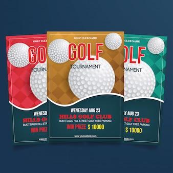 Szablon wektor ulotki golfa