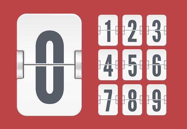 Szablon wektor z numerami tablicy wyników światła klapki biały minutnik lub kalendarz na białym tle na czerwonym tle.