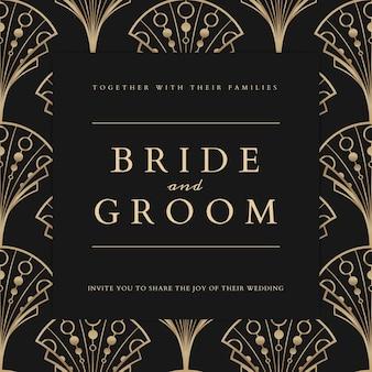 Szablon Wektor Zaproszenie Na ślub Dla Postu W Mediach Społecznościowych W Geometrycznym Stylu Art Deco Deco Darmowych Wektorów
