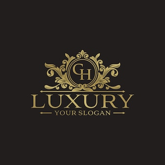 Szablon wektor złoty luksus logo projektu