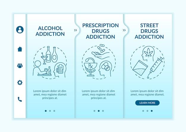 Szablon wektora dołączania typów uzależnień. responsywna strona mobilna z ikonami. przewodnik po stronie internetowej 3 ekrany kroków. koncepcja koloru uzależnienia od narkotyków na receptę z liniowymi ilustracjami