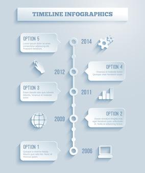 Szablon wektora infografiki osi czasu z efektem papieru przedstawiającym zakres pięciu opcji w polach tekstowych obejmujących kilka różnych lat