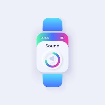Szablon wektora interfejsu smartwatch parametru dźwięku. projekt trybu dziennego sterowania aplikacją mobilną. ustawienia muzyki, ekran regulacji głośności. płaski interfejs użytkownika do aplikacji. głośnik na wyświetlaczu inteligentnego zegarka.