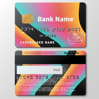 Szablon wektora karty kredytowej z futurystyczne abstrakcyjne 3d kolorowe kształty płynu. ilustracja karty kredytowej dla biznesu, pieniądze w banku
