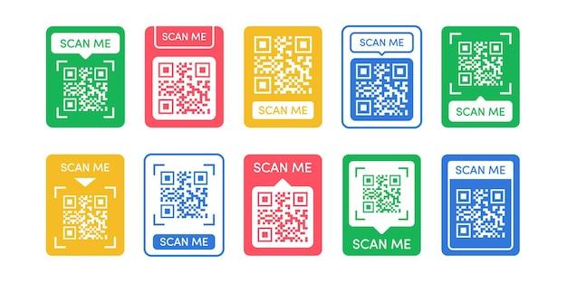 Szablon wektora kodu qr zestaw kolor styl zeskanuj mnie tag kod qr makiety ikona identyfikatora smartfona z kodem kreskowym