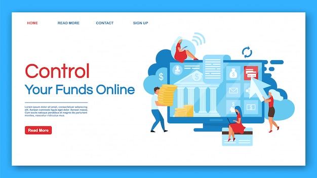 Szablon wektora kontroli funduszy strony docelowej online. strona internetowa usług bankowych z płaskimi ilustracjami. projekt strony internetowej