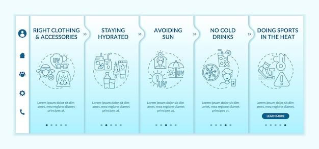 Szablon wektora onboardingowego zapobiegania wyczerpaniu cieplnemu. responsywna strona mobilna z ikonami. przewodnik po stronie internetowej 5 ekranów krokowych. uprawianie sportu w koncepcji kolorów ciepła z ilustracjami liniowymi